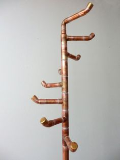 Free Standing Coat Rack, Reclaimed Copper Pipe, Coat Tree with 8 Hooks, Handcrafted Modern Stand Alone Coat Rack, Standing Metal Coat Rack by DerekGoodbrand on Etsy: