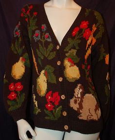 Eagles Eye Bunny Pears Floral Theme Design Hand Knit Cardigan Sz M | eBay $19.95
