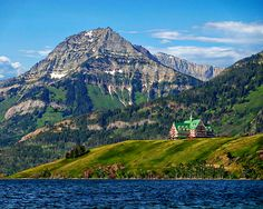 Waterton Lakes National Park established in 1895 is a national park located in the southwest corner of Alberta, Canada. It borders Glacier National Park in Montana, United States. The Prince of Whales hotel can be seen in the background.