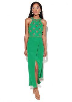 1b531c0a90a Virgos Lounge Green Tallulah Embellished Cocktail Split Maxi Party Dress 14  42  VirgosLounge  MaxiDress