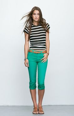 turquoise capris and striped shirt