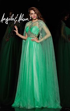 373b35ce12 Angela and Alison A51090 Sheer Long Cape Accessory. Green Evening  DressEvening ...
