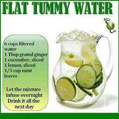 Flat Tummy Water ... cucumber, lemon, mint, infused ...