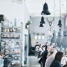 Grey, scandi style cafe