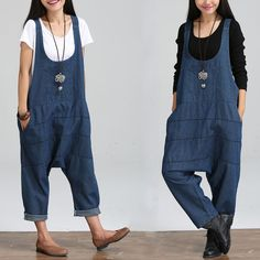ffc2f0c76796 2016 Women Spring New Denim Harem Jumpsuits Pants Girl Loose Plus Size  Trousers Pockets Overalls Jeans