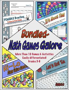 """Math Games Galore Bundle~  User comments: """"Some really good games that students from all different abilities can participate in. Thank you."""" """"Engaging for students during work stations."""" """"Kids loved these.""""  Grades 4-8  $     #MathGames #PEMDAS #computation #PlaceValue"""