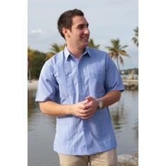 Deluxe fitted Short Sleeve Blue Guayabera by Mycubanstore | Mycubanstore.com