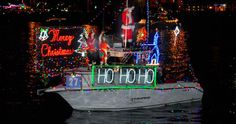 Colorful lights in the water during the San Diego Bay Parade of Lights - December 8 & 15, 2013