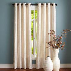 Jute Striped Curtain - Ivory