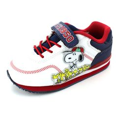 7f1ed34f50 Peanuts Snoopy Boys Lighted Sneakers Shoes (White All-Star Baseball