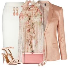 Beautiful Floral Office Style by kginger on Polyvore featuring Zimmermann, Topshop, Roland Mouret, Aquazzura, Alexander McQueen, LE VIAN and Bing Bang