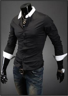 Men's Contrasting Color Button Down Shirt
