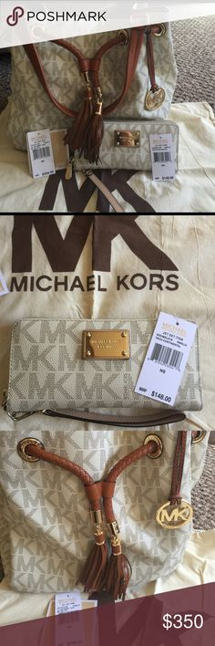 Authentic Michael Kors Tote and matching wallet This bag is authentic and gorgeous, comes with matching wallet and dust bag and tags from original purchase. Used lightly and well maintained with lots of love. Negotiable, willing to take offers through the offer button.😉 KORS Michael Kors Bags Totes