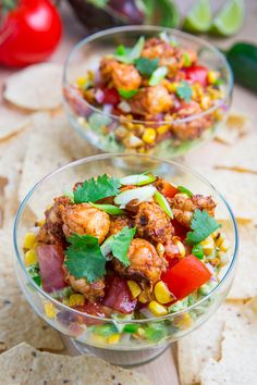 Chipotle Lime Shrimp and Guacamole Dip with Tomatoes and Charred Corn...