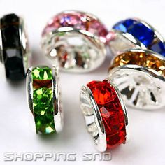 100pcs Premium Quality Czech Crystal Rhinestones  On Wavy Silver Rondelle Spacer Beads