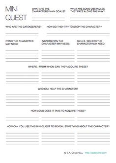 Send your character on a mini quest with this writing worksheet. |  #amwriting