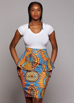 Toyin Stretch African Print Peplum Pencil Skirt (B… African Fashion Designers, African Inspired Fashion, Latest African Fashion Dresses, African Print Fashion, Africa Fashion, Modern African Clothing, African Print Clothing, African Print Dresses, African Skirt