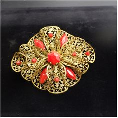 Vintage Brooch Victorian Look Brooch Collectible Jewelry Ribbon Scroll Design Red Rose Oval