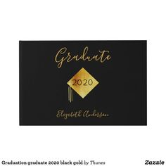 Shop Graduation graduate 2020 black gold guest book created by Thunes. School Supplies, Black Backgrounds, Special Day, Black Gold, Graduation, Just For You, Messages, Books, Prints
