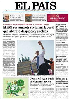 Los Titulares y Portadas de Noticias Destacadas Españolas del 20 de Junio de 2013 del Diario El País ¿Que le parecio esta Portada de este Diario Español?