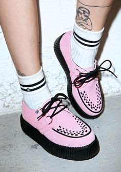 "T.U.K. Baby Pink Suede Mondo Creepers cuz yer sweet like bubbleyum! These supa cute creepers feature a soft pink suede upper and interlaced detailing at the toe. With D-ring eyelets, corded laces, and a 2"" platform, these sweet creepers will keep yer shoe game diabetic."