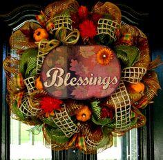 Deco Mesh Fall Door Wreath. $65.00, via Etsy.