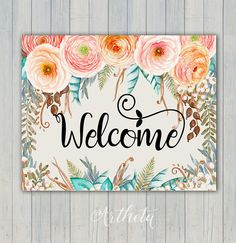 ♥ Welcome to Artheta Printable Art! ~ For Discount Coupon Codes, check Artheta Shop Announcement ~ Welcome sign. Printable artwork. This listing is