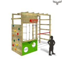 Need something that's sporty, smart and sophisticated? Then your garden needs the CleverClimber Club XXL climbing frame. Due to the seven awesome play options in the standard version alone, this real play feature has something for all ages and tastes. Kids Climbing Frame, Wooden Climbing Frame, Climbing Rope, Backyard Playground, Backyard For Kids, Playground Ideas, Jungle Gym, Kids Play Area