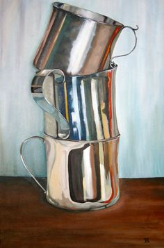 Metal coffee cups stacked. Painting.