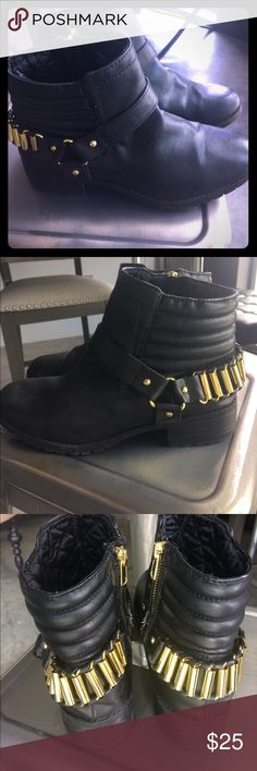 Black moto ankle boot with gold bullets Black ankle boot, moto Frye style, faux leather with strap, I call these bullet proof! These are euro size 38, is size 7 women's. I'm an 8 and fit in them. Thanks! Shoes Ankle Boots & Booties