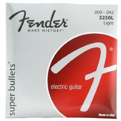 Fender Accessories 073-3250-403 Nickel Plated Electric Guitar Strings, Light by Fender. $4.46. Fender super bullets are the ultimate string forfender trem users. nickel-plated steel makes these anexcellent choice for rock and other styles of music wherethe guitar needs to cut through.fender super bullets are one of the world'smost-popular sets of strings and for good reason.the german-made bullet end fits precisely intofender tremolo blocks, enhancing sustain and stability.th...
