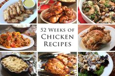 52 Weeks of Chicken Recipes by Barefeet In The Kitchen oven roasted pan fried stir fries casseroles skillet meals finger foods appetizers and salads! Ways To Cook Chicken, Cooked Chicken Recipes, Turkey Recipes, My Recipes, Dinner Recipes, Cooking Recipes, Favorite Recipes, Healthy Recipes, Duck Recipes