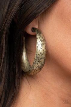 Paparazzi Accessories - Sahara Sandstorm - Brass Earrings Paparazzi Jewelry Catalog, Paparazzi Accessories, Fashion Earrings, Fashion Jewelry, Oversized Hoop Earrings, Tribal Fashion, Rings For Men, Brass, Copper