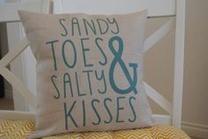 Sandy Toes & Salty Kisses Pillow Cover / Nautical by polkadotpears, $27.00