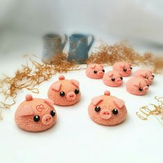 Loving Creations for You: Piggy Chiffon Cakes in Macaron Teacups