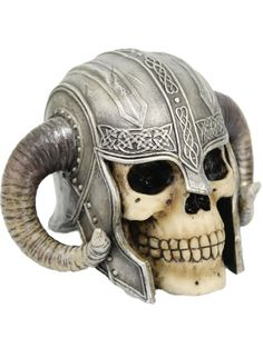 Like our Valhalla Skull, this features the Skull of a brave Viking warrior. This one is wearing a helmet with turned rams horns on the top and Celtic style decoration. Viking Helmet, Viking Warrior, Steampunk Animals, Inked Shop, Viking Art, Arm Armor, Skull And Bones, Skull Art, Decoration