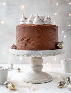 Hot Cocoa Cake with Whipped Marshmallow - Hot Cocoa Cake Recipe