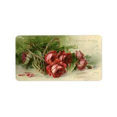 Vintage Valentine's Day, Crimson Red Roses Label