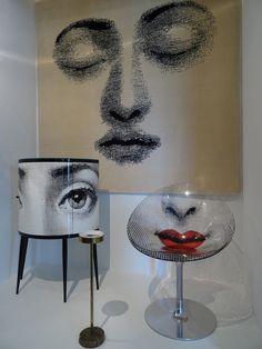 Aujourd'hui l'esthétique de Piero Fornasetti inspire les designers contemporains, dont Philippe Starck. Ce dernier a signé le design de cette chaise Bocca en polypropylène dont le décor est réalisé par Barnaba Fornasetti (2005). La Console Occhi est aussi une réinvention de Barnaba Fornasetti (2011).