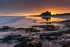 Sunrise at Bamburgh Castle Northumberland, North East England [Explored] Great North, North East England, Newcastle, Beautiful World, Fairytale, Sunrise, Photographs, Explore, Water