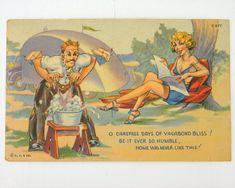old teardrop trailers | Vintage Postcard Teardrop Camper Travel Trailer Comic 1950s - Other