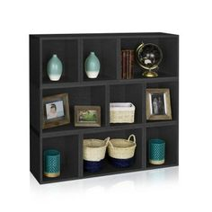 Way Basics Oxford 9-Compartment Stackable Modular Bookcase and Eco Storage Shelf in Black-PS-MCRP-9-BK - The Home Depot