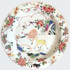 A Chinese export porcelain plate decorated in famille rose enamels with two deer. Decorated in famille rose enamels with two deers, lingzhi and peonies. Plates And Bowls, Ceramic Plates, White Enamel, Soft Colors, White Porcelain, Decoration, Peonies, Pottery, Ceramics