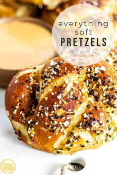 Make these Homemade Everything Bagel Soft Pretzels for your next game day snack. Pillowy dough with a chewy pretzel crust, topped with homemade Everything Bagel Seasoning, they are the perfect little savory snack for a get-together. Serve with Sriracha Honey Mustard, Beer Cheese Sauce, or your favorite dip, even cream cheese. Appetizer Recipes, Snack Recipes, Bread Recipes, Appetizers, Beer Cheese Sauce, Homemade Soft Pretzels, Savory Snacks, Healthy Snacks, Recipe Creator