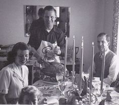 Thanksgiving Images From 1950s | Carving Turkey on Thanksgiving Day- 1950s Vintage Photograph