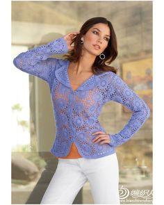 crochet jacket con moduli senza interrompere il filo.