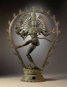 """ca. 950-1000. Nataraja the most famous subject in Chola period processional bronzes: Shiva as the Lord of Dance. 30"""" x 22.5"""" Hindu. dravidian art. Tamil Nadu, India. Copper Alloy LACMA"""