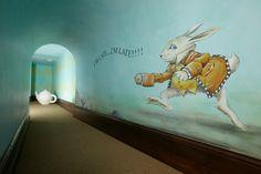 Mural Design- The white rabbit from Alice in Wonderland Playroom Mural, Wall Murals, Playroom Design, Kids Murals, Playroom Furniture, Playroom Ideas, Alice In Wonderland Room, Secret Rooms, Secret Walls