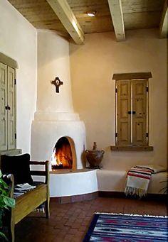 curvy corner fireplace - popular in southwest design. - Decoration Fireplace Garden art ideas Home accessories Adobe Fireplace, Fireplace Garden, Fireplace Cover, Small Fireplace, Farmhouse Fireplace, Fireplace Design, Fireplace Brick, Rumford Fireplace, Craftsman Fireplace