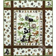 Printed Fabric Panel Make A Cushion Upholstery Craft Squirrel Noel Christmas